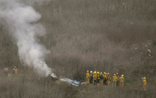 The helicopter crashed in the hills of Calabasas, California