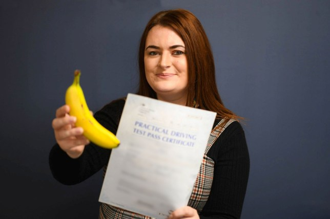 Katie Timms who passed her driving test - by eating bananas.