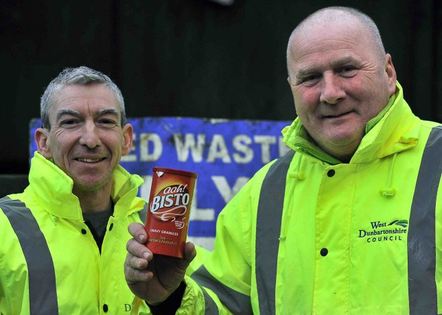 Council workers pulled ?20,000 of life savings from a dump after they were accidentally thrown away stashed inside Bisto gravy tins. The precious loot was discarded by family members of a local woman while clearing out her home. When the penny dropped, they frantically rushed back to the dump at Renton - catching the massive skips before they made their way to landfill. Determined workers Kenny McAdam and Tony Scanlon spent two hours searching through rubbish to find the cash. Dalmoak recycling centre workers searched for 2 hours for bisto tins which had been wrongly thrown out and contained hundreds of pounds Picture by Colin Garvie, Lennox Herald contracted freelance, 20/01/20