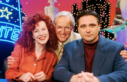 Editorial use only Mandatory Credit: Photo by ITV/REX (727032ef) 'Just a Minute' - Nicholas Parsons and Tony Slattery. ITV Archive