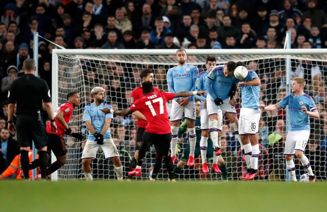 Manchester United star Fred struck the wall with his late free-kick against Manchester City