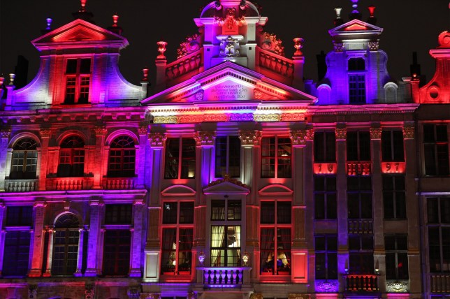 Grand Place in Brussels, Belgium, is lit up in red, white and blue
