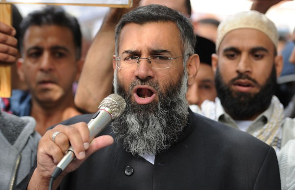 British muslim cleric Anjem Choudary speaking to a group of demonstrators protesting a film apparently made in the US that they say insults the Islamic faith as they demonstrate outside the US embassy in central London. British radical preacher Anjem Choudary and his co-defendant Mohammed Mizanur Rahman were facing jail after being convicted of encouraging support for the Islamic State group. They were convicted following a trial at the Old Bailey court in London on July 28, but legal restrictions were placed on verdict being made public until August 16. (FILES) This file photo taken on September 14, 2012 shows / AFP PHOTO / LEON NEALLEON NEAL/AFP/Getty Images