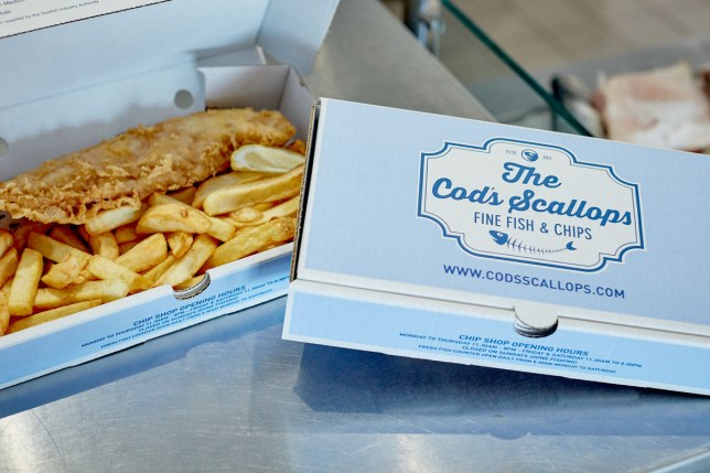 fish and chips from cod n scallops