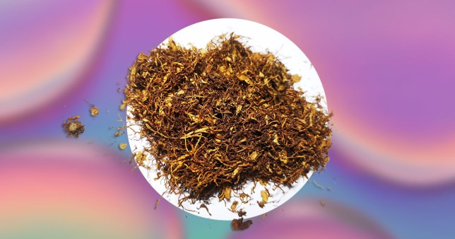 A pile of tobacco on a colourful background