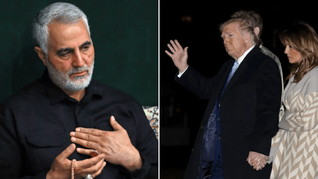 Photo of Qasem Soleimani next to photo of Donald and Melania Trump