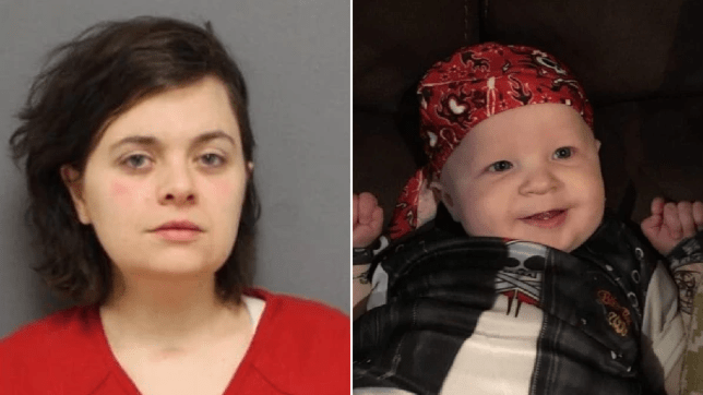 Mugshot of Lindsee Leonardo next to photo of her baby son Aiden