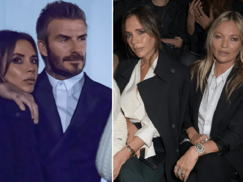 David and Victoria Beckham look loved up as they join Kate Moss at Dior fashion show