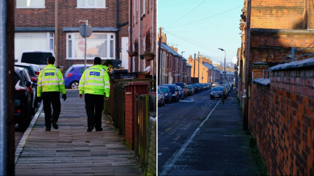 Caption: Gv of Belper Road in the Charnwood area of Leicester where police are hunting a for a man in connection with the stabbing of a 10 year old boy who was attacked whilst walking along the road with his mother at around 5:20pm yesterday afternoon. See SWNS story SWMDstab A ten-year-old boy has been stabbed in the street in front of his mother as police launch manhunt for knife man. The youngster was walking down Belper Street, Leicester, at 5.20pm yesterday (Sat) with his mum when he was approached by a man who stabbed him before fleeing the scene. A member of the public called emergency services and the child was taken to the Queen???s Medical Centre in Nottingham where his condition is described as non-life-threatening. His mother was not injured in the incident. Photographer: SWNS Provider: SWNS Source: SWNS