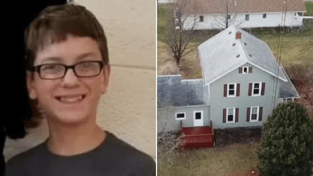 Photo of Harley Dilly next to overhead photo of house where he died