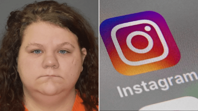Mugshot of Lakien Perry next to file photo of Instagram logo on a phone screen