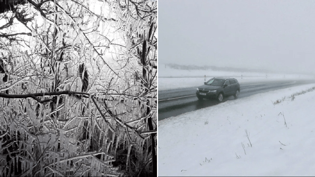 Inside of the ice hedge on the A645 in Hereford, Herefordshire (left) and car driving through snow on the A68 on the England / Scotland border