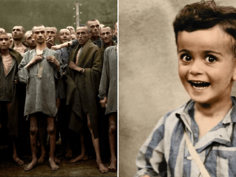 Haunting newly-colourised picture of smiling boy, 4, destined for the gas chamber