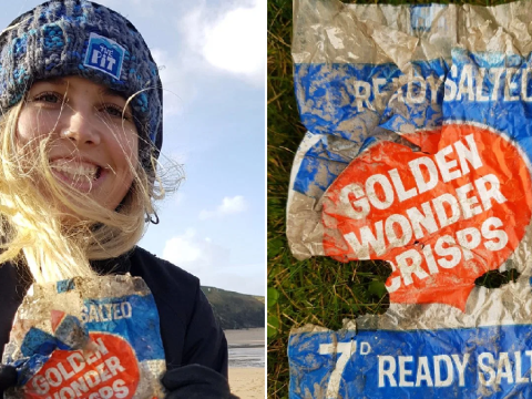 Woman finds 50-year-old crisp packet littered on Cornwall beach