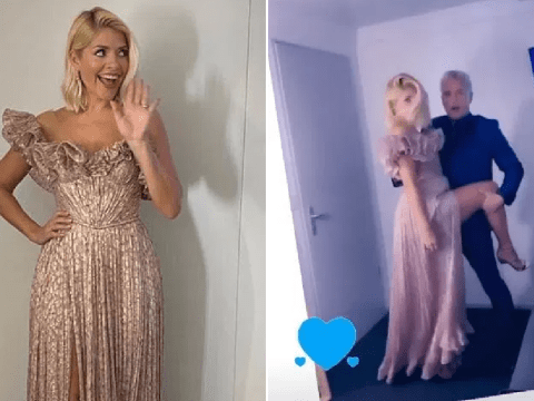 Holly Willoughby dazzles in Dancing On Ice gown as she tangos with John Barrowman backstage