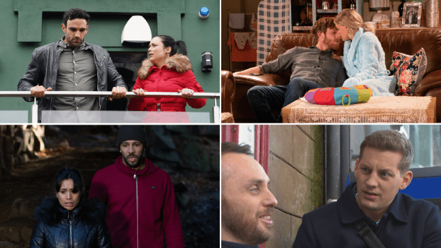 Kush and Whitney in EastEnders, Daniel and Sinead in Coronation Street, Priya and Billy in Emmerdale, John Paul and James in Hollyoaks