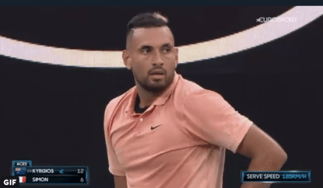 Nick Kyrgios received a time violation warning in his Australian Open second round match against Gilles Simon (