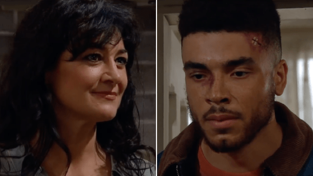 Moira Dingle and Nate Robinson in Emmerdale