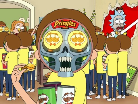 Rick and Morty get stuck in a Pringle ad as Mortybots invade ahead of Super Bowl LIV this weekend