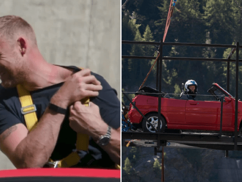 Top Gear's Freddie Flintoff sweats through top and shows off painful harness marks after terrifying car bungee jump