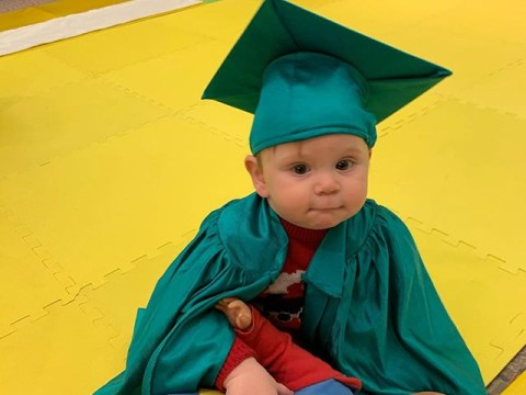 Gordon Ramsay's son Oscar 'graduates' from baby class in cap and gown