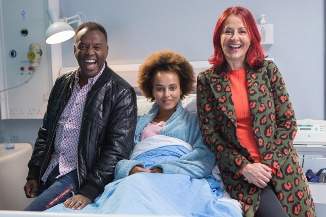 DAVID, TALIA AND CARRIE GRANT in Hollyoaks
