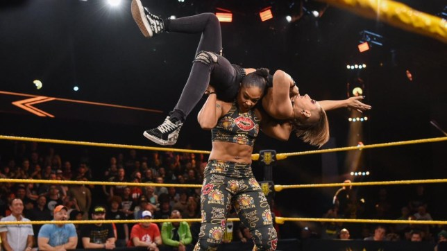 WWE superstar Bianca Belair attacks NXT Women's champion Rhea Ripley