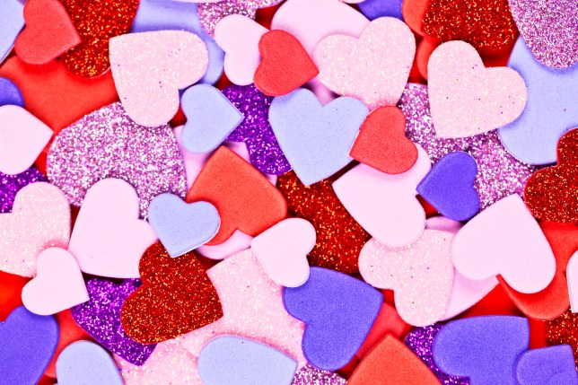 A background made of colourful hearts.