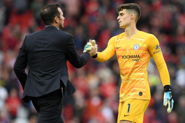 Frank Lampard, Manager of Chelsea embraces Kepa Arrizabalaga of Chelsea after the Premier League match between Manchester United and Chelsea FC at Old Trafford on August 11, 2019 in Manchester, United Kingdom.