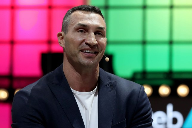 Boxing legend Wladimir Klitschko is pictured at a speaking event