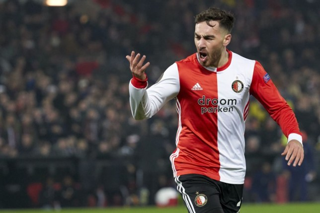 Orkun Kokcu celebrates scoring a goal for Feyenoord