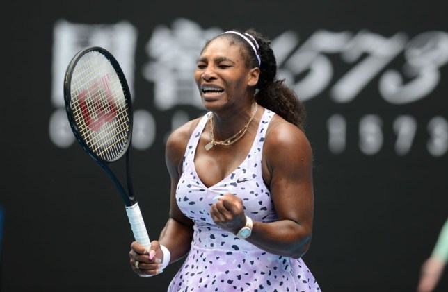 Serena Williams gestures her women's singles match against Qiang Wang of China (not seen) at the Australian Open tennis tournament in Melbourne, Australia on January 24, 2020.