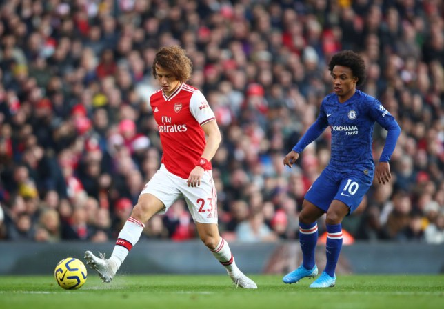 David Luiz and Willian during Arsenal's Premier League clash with Chelsea