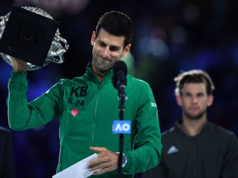 Novak Djokovic reacts to beating Dominic Thiem in five sets to win Australian Open