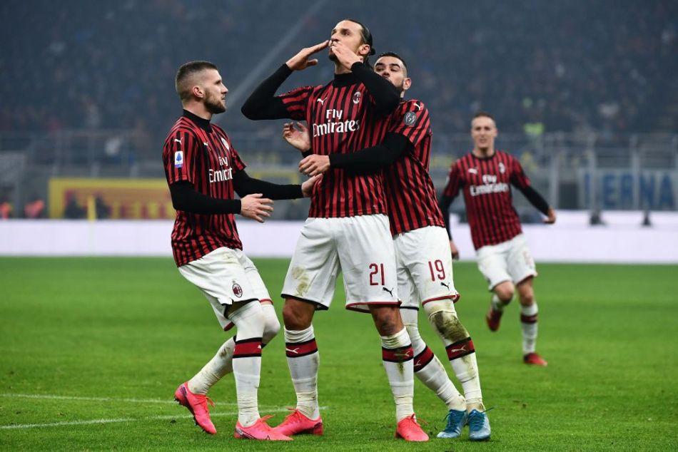 Zlatan Ibrahimovic put AC Milan 2-0 up before half time against Inter