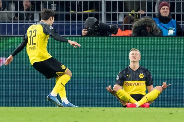 Former Manchester United target Erling Haaland after scoring for Borussia Dortmund against PSG