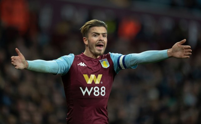 Manchester United transfer target Jack Grealish shouts while playing for Aston Villa
