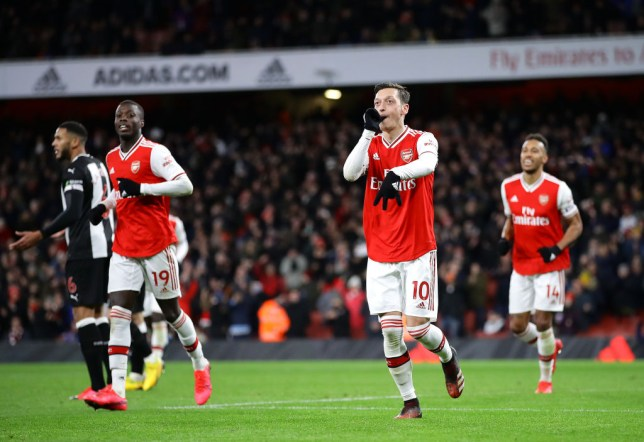 Arsenal's Mesut Ozil celebrates goal against Newcastle