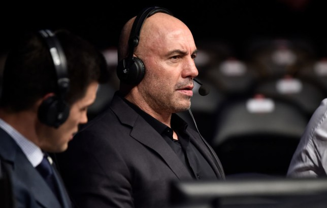 Joe Rogan commentates of a UFC fight from cageside