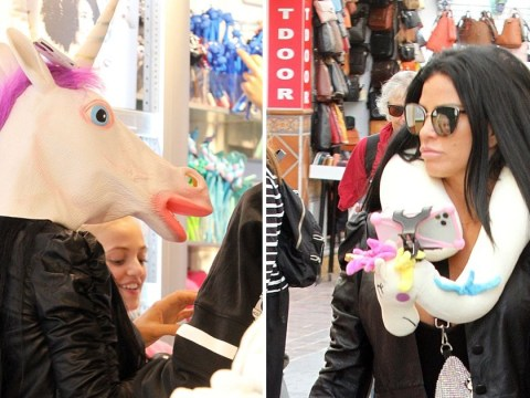 Katie Price may as well be auditioning for The Masked Singer as she models unicorn head while hitting the shops