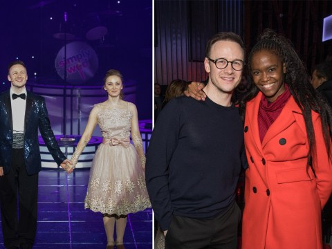Kevin Clifton can't stop smiling on opening night of The Wedding Singer while supported by his Strictly pals