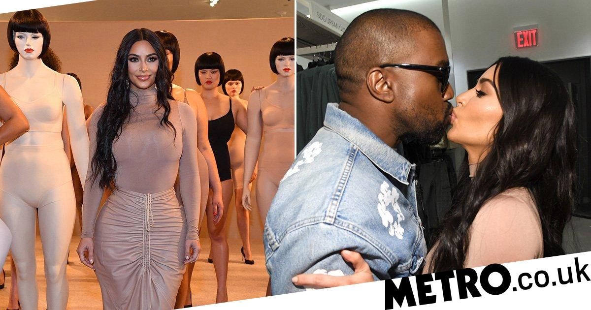 Kanye West packs on PDA with Kim Kardashian for SKIMS launch