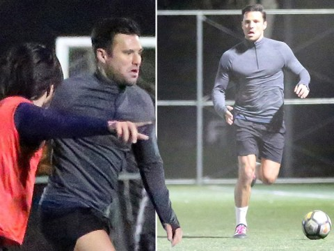Mark Wright shows off his football skills in LA as he returns to America for work