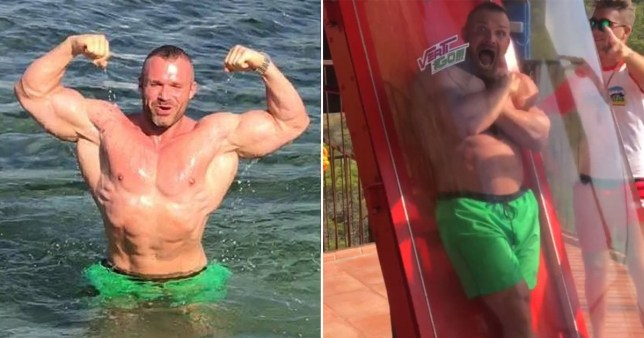 \'Scared of heights\' bodybuilder caught in fake injury claim when he went on Europe\'s highest waterslide
