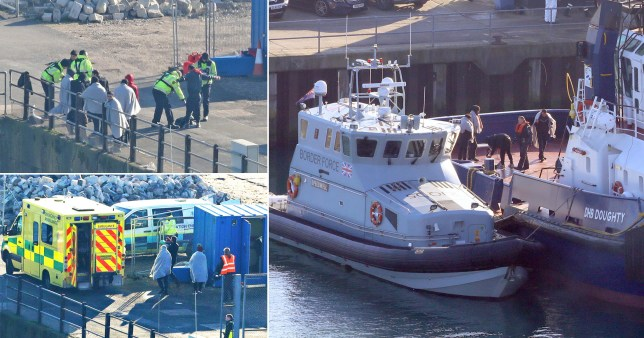 Migrants are led to an ambulance as they are brought ashore in Dover, Kent (Picture: Fuller/PA Wire)