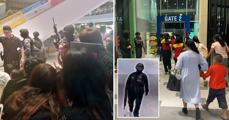 Images of Thai shopping mall shooting in which at least 20 people were thought to have been killed