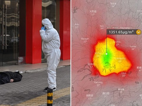 Maps showing sulphur dioxide predictions mistaken for Wuhan cremation pollution