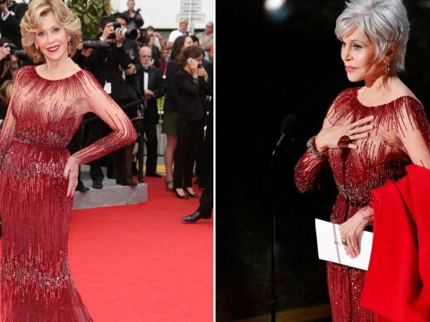 Jane Fonda recycles Cannes dress at the Oscars – and teams with 'climate change' coat she's been arrested in five times