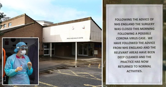 French Weir Health Centre, in Taunton, Somerset, has closed amid fears of a coronavirus outbreak