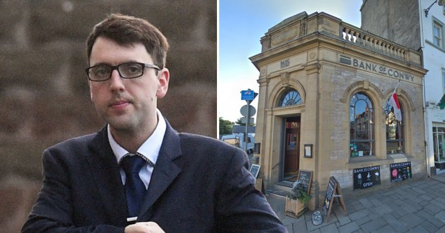 Robert Stuart Brown, 27, who was found guilty of GBH and picture of the Bank of Conwy pub, where he struck a man in the face with a glass and nearly blinded him.